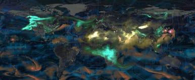 Färgrik världskarta, moln och modell för strömkretsbräde med ljusa strålar arkivbild