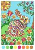 Färgrik vårkanin för räkningsfärgläggningbok Arkivfoton