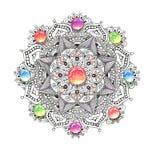 Färgrik vattenfärg för Mandala med juvelstenar Royaltyfri Fotografi
