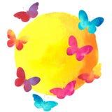 Färgrik vattenfärgfjäril med en rund etikett Arkivfoto