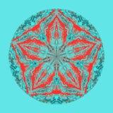 Färgrik vattenfärgmandala Orientalisk tappningrundamodell abstrakt bakgrund tecknad hand Mystikerottomanmotiv Arkivfoto