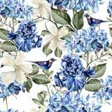 Färgrik vattenfärgmodell med blommor vanlig hortensia, hibiskus, iris och fågel Royaltyfria Bilder