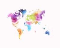 Färgrik vattenfärgvärldskarta som isoleras på vit royaltyfri illustrationer