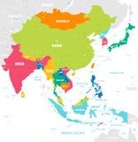 Färgrik vektoröversikt av East Asia royaltyfri illustrationer