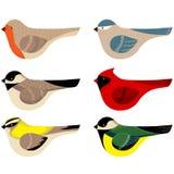 Färgrik vektor dekorerad fågelsamling stock illustrationer