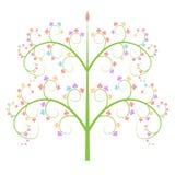 Färgrik vektor för trädsymbolslogo som isoleras på vit bakgrund Royaltyfri Fotografi