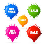 Färgrik vektor Sale, varma prisfläckar, färgstänketiketter Arkivbilder