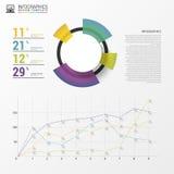 Färgrik vektordesign för workfloworientering Modernt diagram Infographics Arkivbild