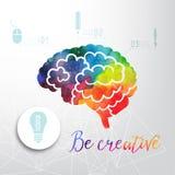 Färgrik vektorhjärnsymbol, baner och affärssymbol Idérikt begrepp för vattenfärg Vektorbegrepp - kreativitet och hjärna Letterin royaltyfri illustrationer
