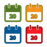 Färgrik vektorkalender Detaljerade 3d framför 20 Plan desig vektor illustrationer