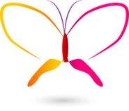 Färgrik vektorlogo för fjäril vektor illustrationer