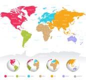Färgrik vektorvärldskarta royaltyfri illustrationer