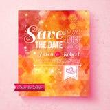 Färgrik vibrerande räddning datumbröllopinbjudan Royaltyfria Bilder