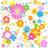 Färgrik vibrerande stiliserad blommabakgrund Arkivfoto