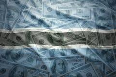 Färgrik vinkande Botswana flagga på en dollarpengarbakgrund Royaltyfri Foto