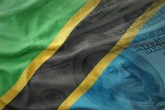 Färgrik vinkande nationsflagga av Tanzania på en amerikansk dollarpengarbakgrund Royaltyfria Foton