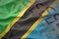 Färgrik vinkande nationsflagga av Tanzania på en bakgrund för europengarsedlar Royaltyfria Bilder