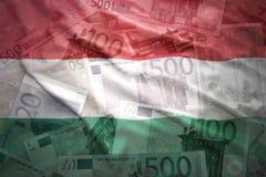 Färgrik vinkande ungersk flagga på en eurobakgrund Arkivbilder