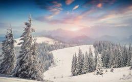 Färgrik vintersoluppgång i berg för snöstormen Arkivbilder