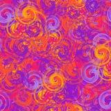 Färgrik violett och orange sömlös bakgrund målarpenselför spiralvår Arkivbilder
