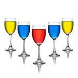 färgrik wineglass Royaltyfria Bilder