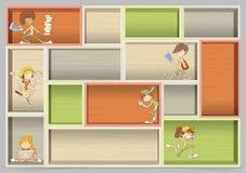 Färgrik wood hylla med tecknad filmtonåringstudenter stock illustrationer