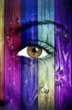 Färgrik wood textur som målas på kvinnaframsida Fotografering för Bildbyråer