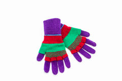 Färgrik woolen handske Arkivfoto