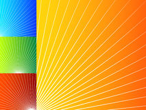 Färgrika abstrakta bakgrunder med radiella linjer vektor illustrationer