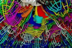 Färgrika abstrakta geometriska linjer bakgrund Arkivbilder