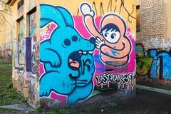 Färgrika abstrakta grafitti, modern tecknad filmstil Royaltyfria Bilder