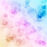 Färgrika abstrakta hjärtabokehcirklar för bakgrundsbruk Arkivfoto