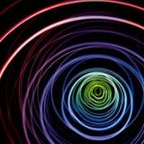 Färgrika abstrakta slingor av ljus Prickar, linjer och bokeh på mörk bakgrund arkivbild