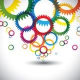Färgrika abstrakta symboler av kugghjulet eller kugghjul - vektorbakgrund Royaltyfri Fotografi