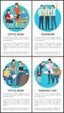Färgrika affischer för teamwork fyra och för kontorsarbete vektor illustrationer