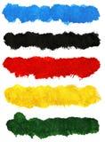 Färgrika akrylborsteslaglängder Fotografering för Bildbyråer