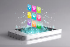 Färgrika applikationer på smartphonen Arkivbild