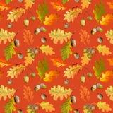 Färgrika Autumn Leaves Background - sömlös modell stock illustrationer