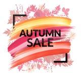 Färgrika Autumn Sale Banner med lövverk Fotografering för Bildbyråer