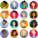Färgrika avatarsymboler av mångkulturellt och multinationellt tecknad filmaffärsfolk stock illustrationer