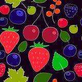 Färgrika bär sömlös modell, vektor, jordgubbe, körsbär, hallon Royaltyfri Bild