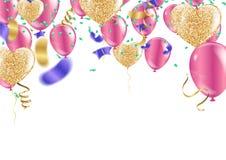 Färgrika ballong- och flaggaband för konfettier över den vita tegelplattaväggen, stock illustrationer