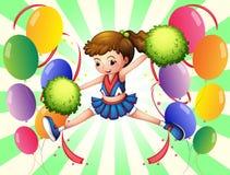 Färgrika ballonger med en ung cheerer Arkivfoto