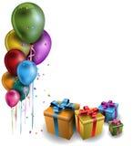 Färgrika ballonger med gåvor Royaltyfri Bild