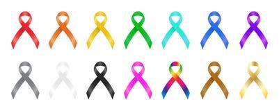 Färgrika band för en medvetenhet vektor illustrationer