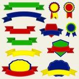 Färgrika band och etikett, vektorillustration Royaltyfria Foton