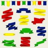 Färgrika band och flagga, vektorillustration Royaltyfri Bild