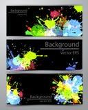 Färgrika baner för abstrakt inkblot royaltyfri illustrationer
