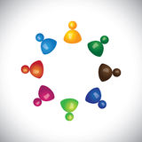 Färgrika barn 3d eller ungar som tillsammans spelar och har gyckel stock illustrationer