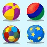 Färgrika barns uppblåsbara boll Arkivfoto